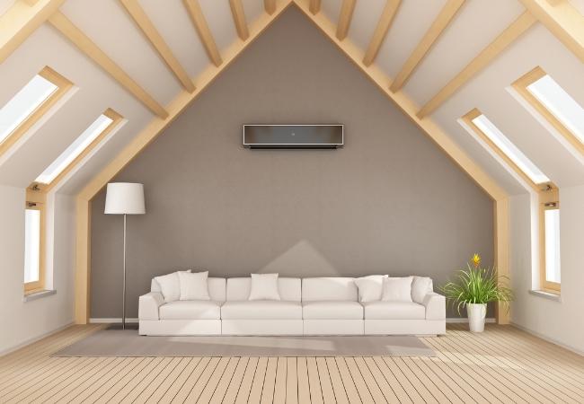 Binnenunit met warmtepomp voor de verwarming van slaapkamers.
